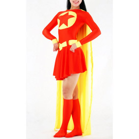 Sexy Lycra Red&Yellow Female Superman Costume   Zentai Suit