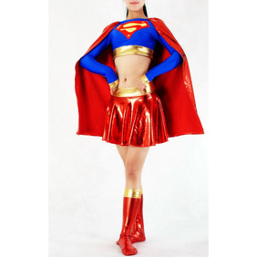 Sexy Lycra Red&Blue  Female Superman Costume Zentai Suit