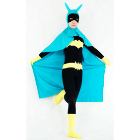 Sexy Black&Blue Lycra Female Batman Costume Zentai Suit