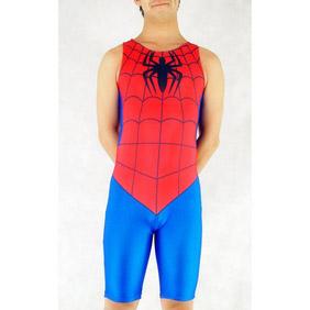通気 柔らかい セクシー ライクラ スパイダーマン レッド 赤 とブルー 青 全身タイツ