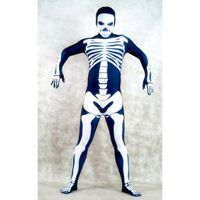 Sexy White&Blue Lycra Costume Zentai Suit