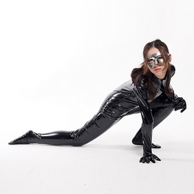 Sexy Black PVC Breathable Soft Zentai Suit