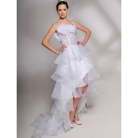 Sweet White Multi-Layer Long in Back Short in Front Strapless  Train Chiffon Wedding Dress