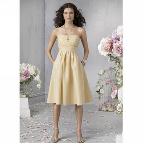 Elegant Yellow Empire Waist Strapless Knee Length  Satin Cocktail Dress