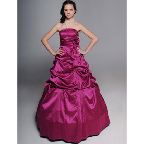 Fabulous Mauve Ball Gown Floor Length Large  Panier Satin Wedding Dress