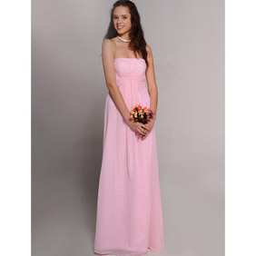 Sweet Pink Empire Waist Slender  Floor Length Chiffon Wedding Dress