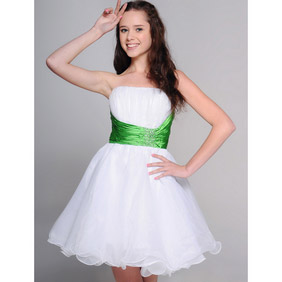 Cute White Short Sash Organza Wedding Dress