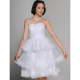 White Mini Princess Multi-Layer Sweetheart strapless Organza Wedding Dress