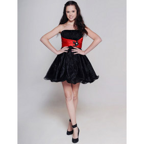 Cute Black Short Sash Organza Wedding Dress