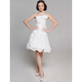 Elegant White A-line strapless Satin Flower Short Wedding Dress
