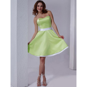 Sweet Green A-Line Strapless Sweetheart   Knee Length Satin Wedding Dress