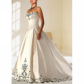 Elegant Ivory A-line Strapless Embroidery Floor Length Satin Wedding Dress