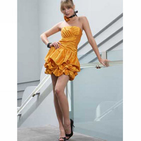 Attractive Yellow Strapless Empire Waist Taffeta mini Cocktail Dress