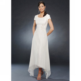 Elegant White  A-Line Short Sleeves Pleated Chiffon Dress