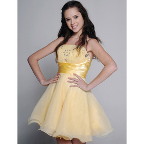 Sweet Daffodil Strapless Beaded Sash Satin Short Dress