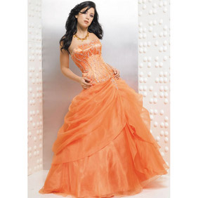 Fabulous Orange Euro-Style Ball Gown Strapless Beading Floor Length Satin Organza Dress