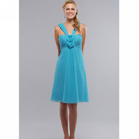 Cute Blue A-Line Flower Tea-Length Chiffon Dress