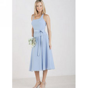 Elegant Light Blue Tea Length Sash Chiffon Dress