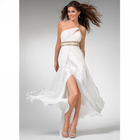 Elegant White  One-Shoulder Sash Floor Length Chiffon Satin Evening Dress