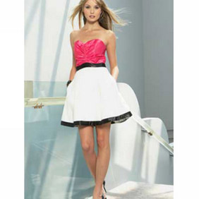 Cute Sweet-Heart Strapless Satin Cocktail Dress