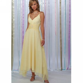 Excellent Yellow V-Neck Spaghetti Chiffon Dress