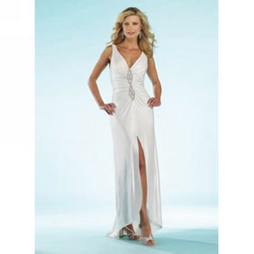 Gorgeous White Sheath Deep-V-neck Floor Length  Satin Dress