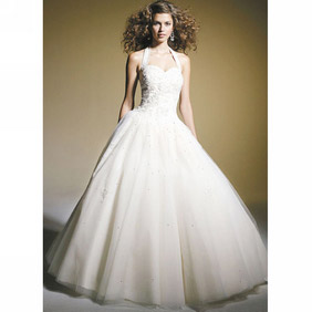 Elegant White Ball Gown Halter Sweetheart Floor-Length Organza Dress