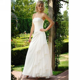 Charming White Strapless Floor Length Satin Wedding Gown