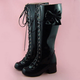 Handsome Black 1.8'' Heel Ribbon Belt PU Leather Rubber Sole Long Lolita Boots