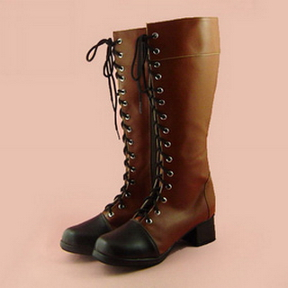 Cute coffee&Black  Belt 1.8'' Heel PU Leather Rubber Sole Half Lolita Boots