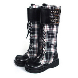 Beautiful Check&Black 1.6'' Heel Belt PU Leather Rubber Sole Long Lolita Boots
