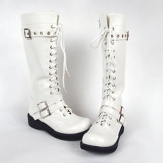 Attractive White 1.8'' Heel PU Leather Rubber Sole Belt Platform Half Lolita Boots