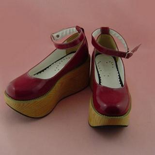 可愛い イエロー レッド 9cm ハート型バックル 合皮 ゴム底 プラット ロリィタ/ロリータ靴