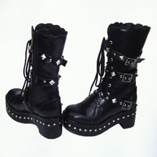 Attractive Black 1.8'' Heel Rivet Belt PU Leather Rubber Sole Lolita Half Boots
