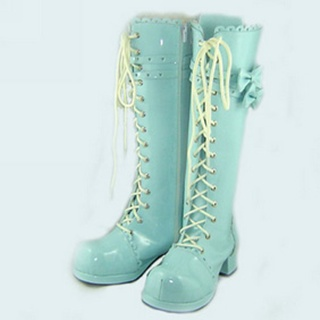 Amazing Blue 1.8''High Heel Ribbon Belt PU Leather Rubber Sole Lolita Long Boots