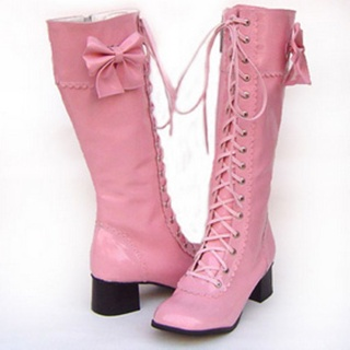 Beautiful Pink 1.8'' High Heel Ribbon Belt PU Leather Rubber Sole Lolita Long Boots