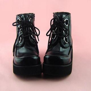 可愛い ブラック 7cm レースアップ 合皮 ゴム底 プラット ロリィタ/ロリータ靴