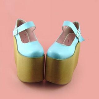 可愛い ブルー 2cm 合皮 ゴム底 ロリィタ/ロリータ靴
