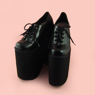 可愛い ブラック 22cm 合皮 ゴム底 ロリィタ/ロリータ靴