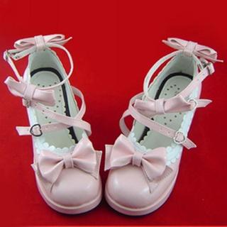 可愛い ピンク 6.3cm 蝶結び ハート型バックル 合皮 ゴム底 ロリィタ/ロリータ靴