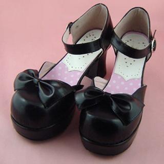 可愛い ブラック 7.5cm 蝶結び 合皮 ゴム底 ロリィタ/ロリータ靴