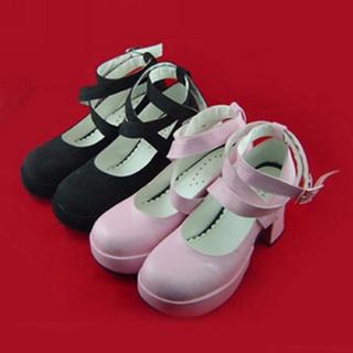 可愛い ピンク 7.5cm 装飾ベルト ブラック 合皮 ゴム底 ロリィタ/ロリータ靴