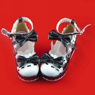 可愛い ブラック ホワイト 7cm 蝶結び ハート型バックル 合皮 プラット ゴム底 ロリィタ/ロリータ靴