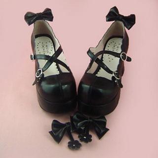 可愛い ブラック 8cm 蝶結び 合皮 ゴム底 ロリィタ/ロリータ靴