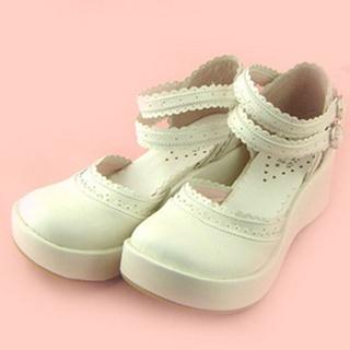 可愛い ホワイト 7cm 合皮 ゴム底 プラット ロリィタ/ロリータ靴