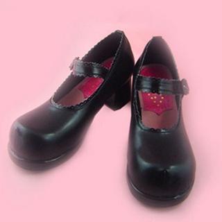 可愛い ブラック 4.5cm 合皮 ゴム底 ロリィタ/ロリータ靴