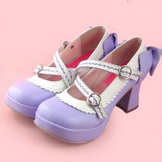 可愛い 紫とホワイト 7.5cm 蝶結び 合皮 ゴム底 ロリィタ/ロリータ靴