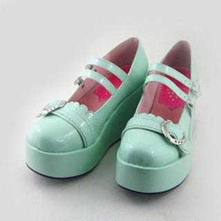 可愛い 緑 8cm ハート 合皮 ゴム底 プラット ロリィタ/ロリータ靴