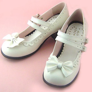可愛い ホワイト 4.5cm 蝶結び 合皮 ゴム底 ロリィタ/ロリータ靴
