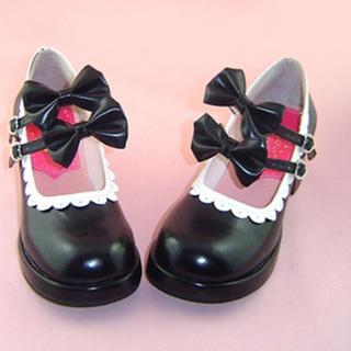 可愛い ブラック 4.5cm 蝶結び 合皮 ゴム底 ロリィタ/ロリータ靴